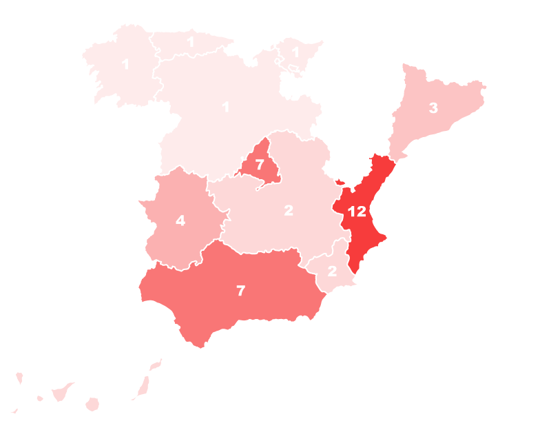 Participantes por comunidades